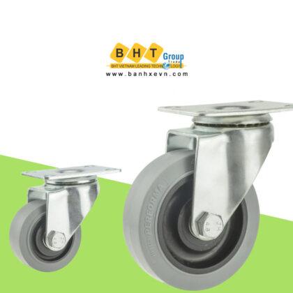 Bánh Xe TPR Xám Chống Tĩnh Điện D75/100/125 Càng Thép